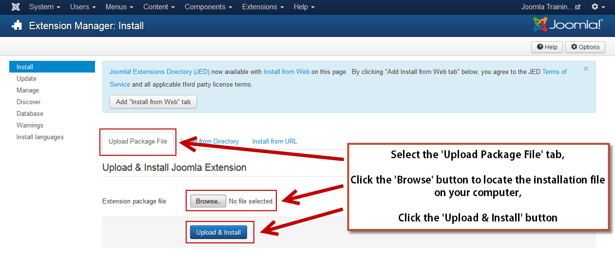 Upload and install Joomla extensions in the administrator
