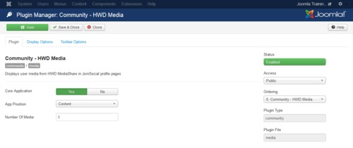 Configuring the JomSocial plugin