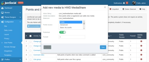 Edit the activity to assign JomSocial User Points in HWDMediaShare