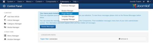 Access the plugin manager in the Joomla administrator