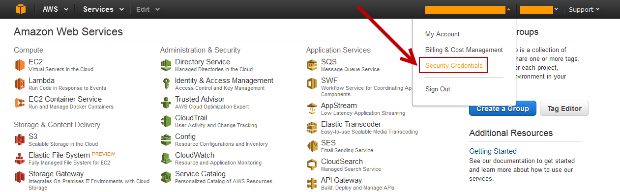 Security Credentials in AWS Console