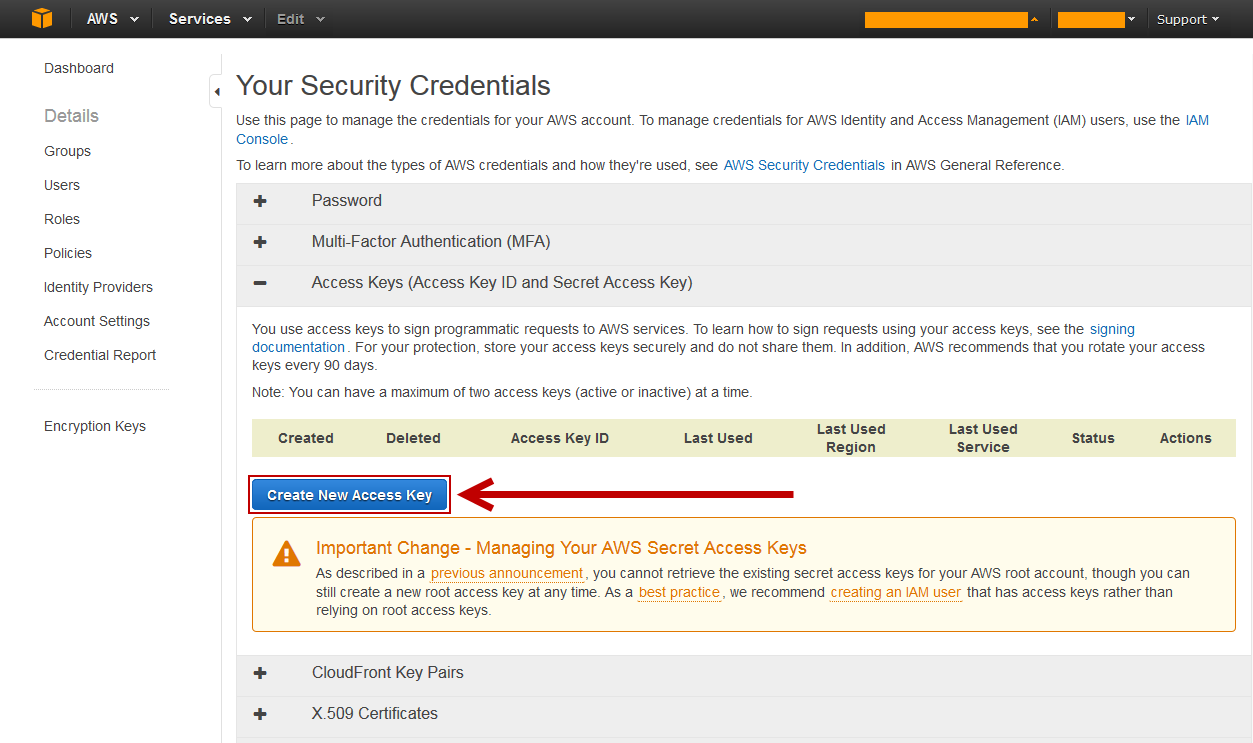 Create New Access Key in AWS Console