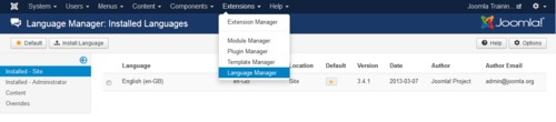 Accessing the Joomla language manager